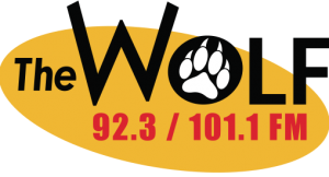 92.3 and 101.1 The Wolf Logo